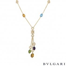 Bvlgari Yellow Gold Multi-Gem B.zero1 Mini Necklace CL854421